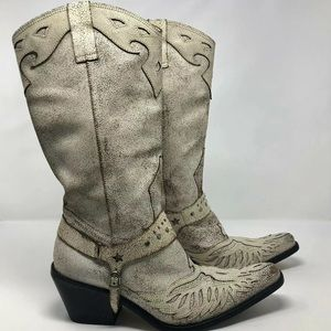 Nine West Western Cowboy Boots Cracked Leather